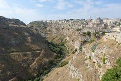 Matera (Basilicata, Italië) - de Oude Stad (Sassi) stock foto's