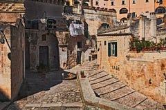 Matera, Basilicata, Italië: hoek in de oude stad genoemd Sassi D royalty-vrije stock fotografie