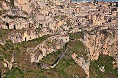 Matera, Basilicata, Italia: vista de la ciudad vieja Fotos de archivo