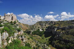 Matera, Basilicata, Italy. Canyon and cliff of the Murge natural park Stock Photo