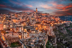 Matera, Basilicata, Italy: landscape of the old town Royalty Free Stock Image