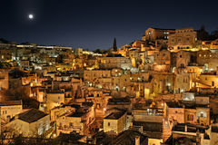 Matera, Basilicata, Italy: night view of the old town Royalty Free Stock Photography