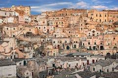 Matera, Basilicata, Italy: view at sunrise of the old town stock image
