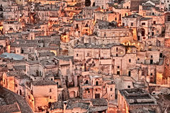 Matera, Basilicata, Italy: view at sunrise of the old town Stock Photos
