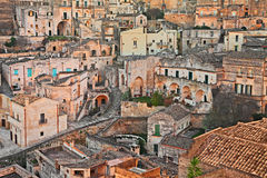 Matera, Basilicata, Italy: view at sunrise of the old town Royalty Free Stock Photography