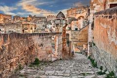 Matera, Basilicata, Italy: view at sunrise of the old town Royalty Free Stock Photos