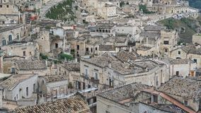 Matera, Basilicata, Southern Italy. Rooftops and buildings of the old city of Matera Royalty Free Stock Images
