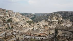 Matera, Basilicata, Southern Italy. Rooftops and buildings of the old city of Matera Stock Photography