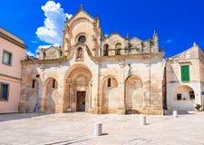 Matera, Basilikata, Italien: Die mittelalterliche Kirche von Saint John der Baptist stockfotografie