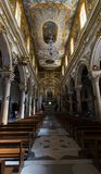 Main nave of the Cathedral di Maria Santissima della Bruna, Matera, Basilicata, Italia. Beautiful Italian Church. stock image