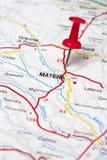 Matera en el mapa Imagen de archivo libre de regalías