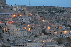 Matera, houses and lights Stock Image