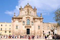 MATERA, ITALIË - SEPTEMBER 10, 2017 - Sassi di Matera Mooie Kerk van Heilige Francis van Assisi stock afbeelding