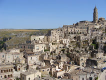Matera, Italy. A panoramic view over the sassi district of Matera, a UNESCO world heritage site in Italy's southern region of Basilicata Stock Photos