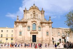 MATERA, ITALY - SEPTEMBER 10, 2017 - Sassi di Matera. Beautiful Church of Saint Francis of Assisi stock image