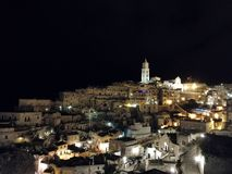 Matera by night royalty free stock image