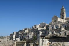 Matera ogólny widok z katedrą, Włochy obraz royalty free