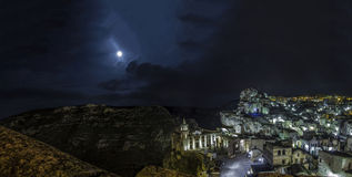 Matera 2019 panorama sassi di matera 2019 by night scene Royalty Free Stock Photography