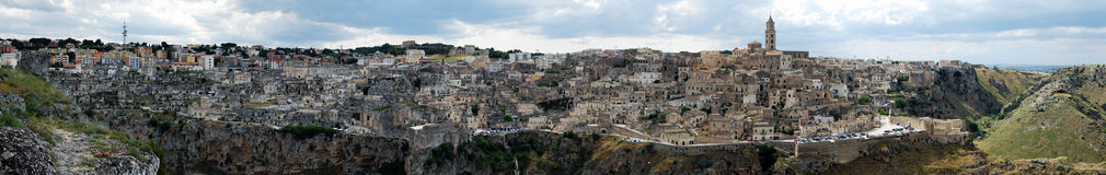 Matera panoramic view. Panorama of Matera village in Italy Royalty Free Stock Images