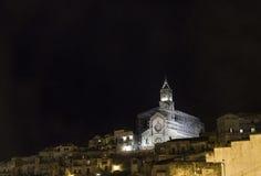 Matera panoramy sassi 2019 di Matera 2019 nocy sceną Obrazy Stock