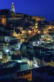 Matera rocks by night Royalty Free Stock Images