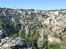 Matera with the rupestrian churches ands houses in Italy Stock Photography