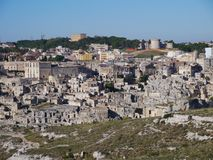 Matera with the rupestrian churches ands houses in Italy Royalty Free Stock Images