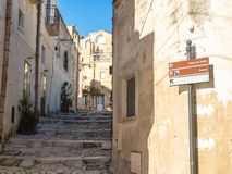 Matera`s alley roadsigns. Touristic road signs near an alley in Matera rural village royalty free stock photos