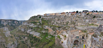 Matera`s Sassi panorama - Italy Royalty Free Stock Photos