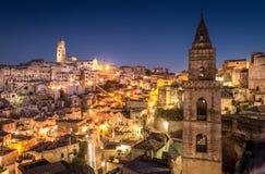 Matera Sassi и старый городок, Базиликата, Италия Стоковые Изображения
