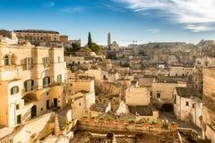 Matera Sassi и старый городок, Базиликата, Италия Стоковая Фотография