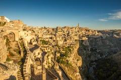 Matera Sassi и старый городок, Базиликата, Италия Стоковые Фото