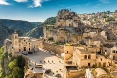 Matera Sassi и старый городок, Базиликата, Италия Стоковые Фотографии RF