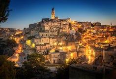 Matera Sassi и старый городок, Базиликата, Италия Стоковые Изображения RF