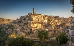 Matera Sassi и старый городок, Базиликата, Италия Стоковое Изображение