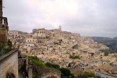 Matera and Sassi hilltop view. View of Matera and the Sassi.  Basilicata, Italy.  A UNESCO World Heritage site Stock Images