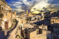 Matera sobre o por do sol Italy foto de stock