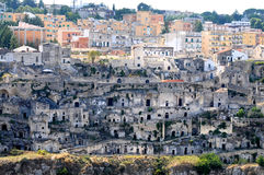 Matera. In southern Italy is one of the oldest towns of the world. The Sassi di  (meaning stones of ). The Sassi, originate from a prehistoric settlement, are royalty free stock photo