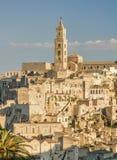 Matera stad, solig sikt Arkivfoton