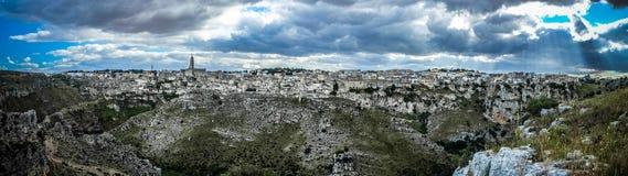 Matera, stad van stenen Stock Foto