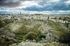 Matera, stad van stenen Stock Fotografie