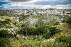 Matera, stad van stenen Stock Afbeeldingen