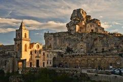 Matera 'staden av stenar i sothern Italien arkivfoto