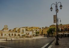 Matera street city Italy. Square sky windows cloud tower colors country road street courts green door panorama sunset courts sleep square Italy Royalty Free Stock Photos