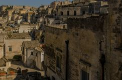 Matera street city Italy. Square sky windows cloud tower colors country road street courts green door panorama sunset courts sleep square Italy Stock Photos