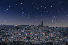 Matera under starry sky Royalty Free Stock Photo
