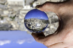 Matera view through a crystal ball Stock Photo
