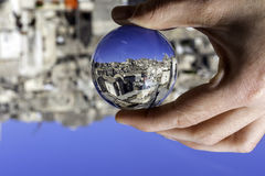 Matera view through a crystal ball Royalty Free Stock Photography