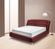 Materac łóżko W Domowym wnętrzu royalty ilustracja