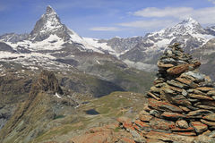 Materhorn mountain with alpines lakes in Switzerland Royalty Free Stock Photography